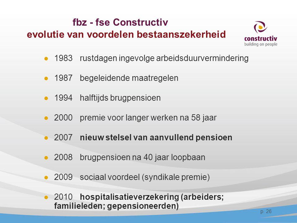 fbz - fse Constructiv evolutie van voordelen bestaanszekerheid