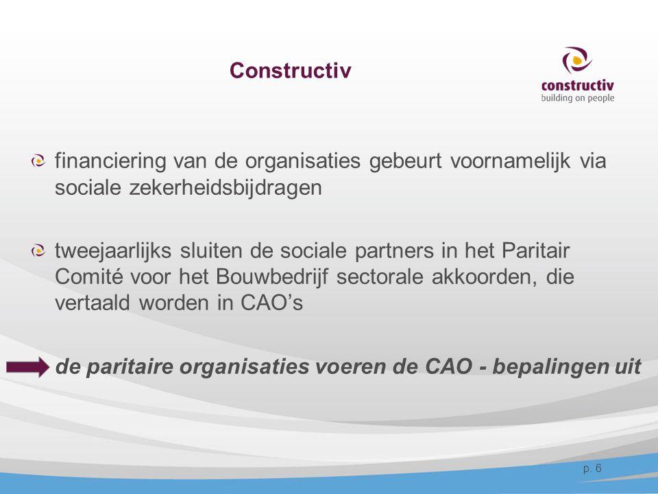 Constructiv financiering van de organisaties gebeurt voornamelijk via sociale zekerheidsbijdragen.