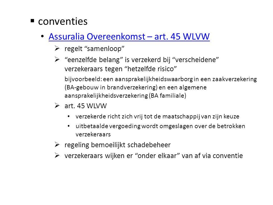 conventies Assuralia Overeenkomst – art. 45 WLVW regelt samenloop