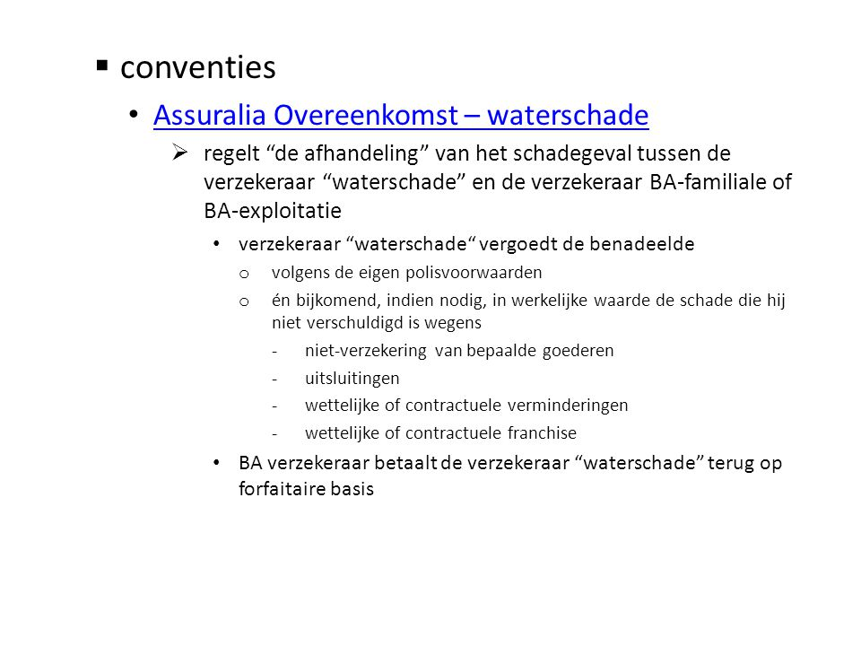 conventies Assuralia Overeenkomst – waterschade