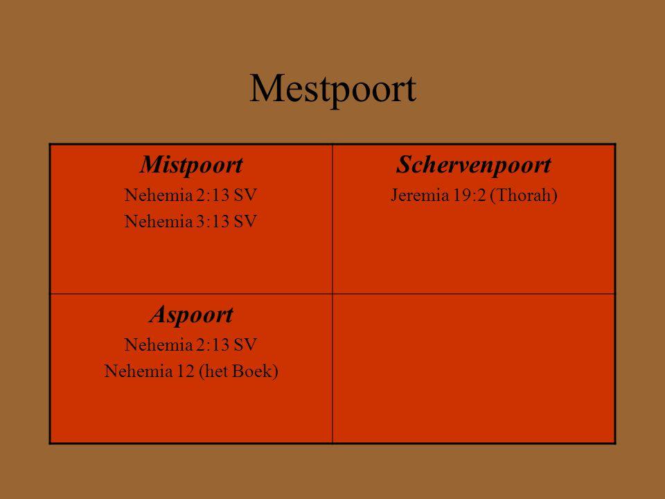 Mestpoort Mistpoort Schervenpoort Aspoort Nehemia 2:13 SV