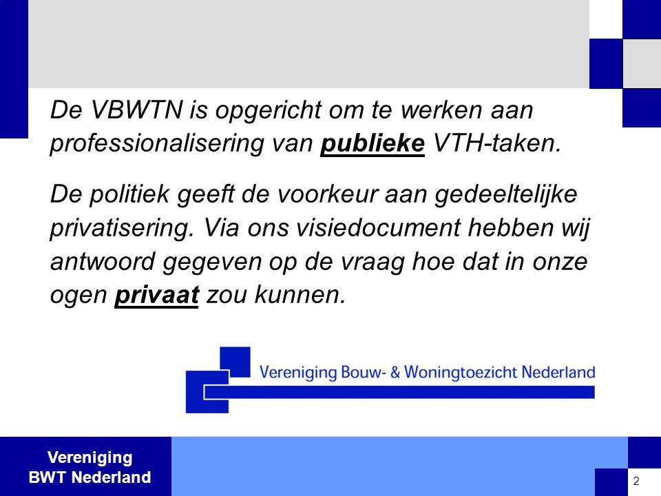 De VBWTN is opgericht om te werken aan professionalisering van publieke VTH-taken.