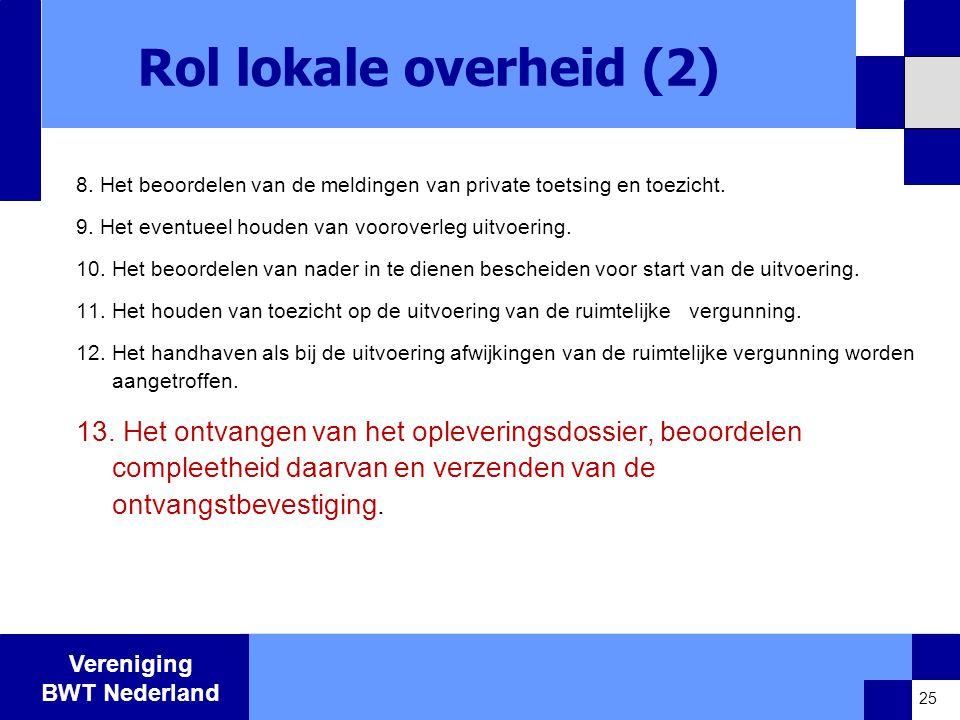Rol lokale overheid (2) 8. Het beoordelen van de meldingen van private toetsing en toezicht. 9. Het eventueel houden van vooroverleg uitvoering.