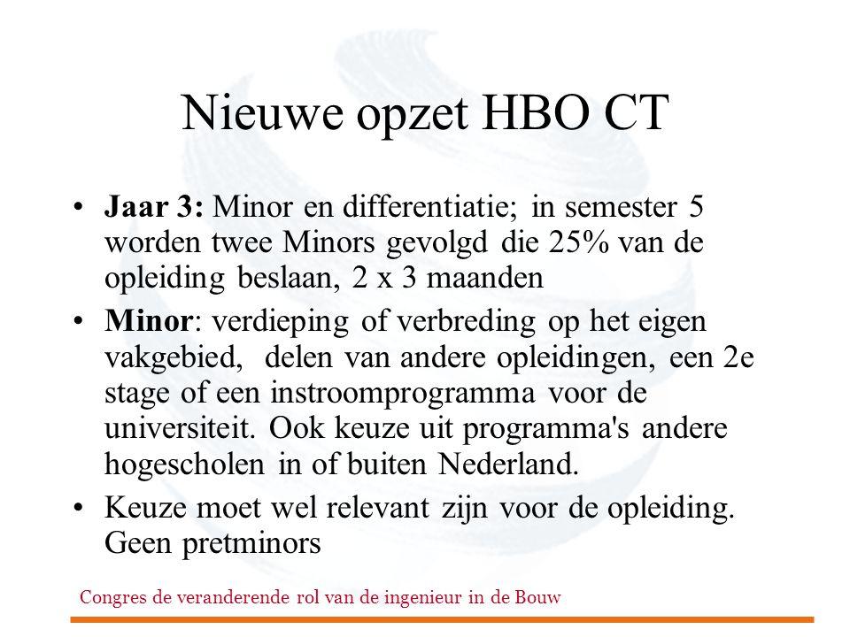 Nieuwe opzet HBO CT Jaar 3: Minor en differentiatie; in semester 5 worden twee Minors gevolgd die 25% van de opleiding beslaan, 2 x 3 maanden.