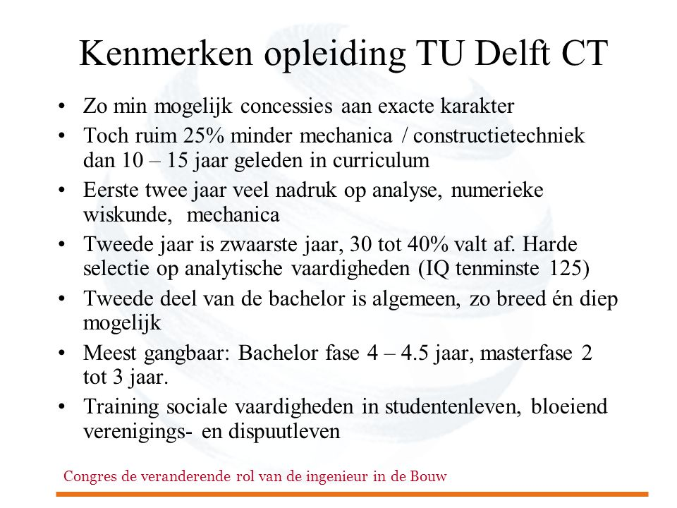 Kenmerken opleiding TU Delft CT