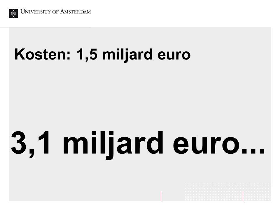 Kosten: 1,5 miljard euro 3,1 miljard euro...