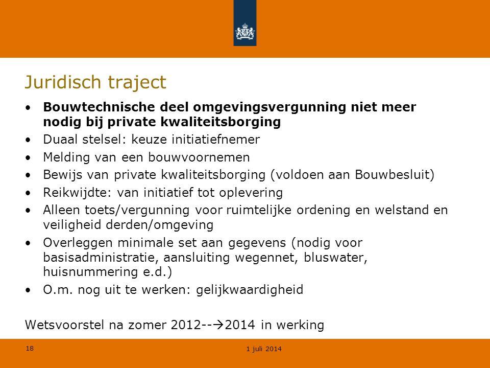 Juridisch traject Bouwtechnische deel omgevingsvergunning niet meer nodig bij private kwaliteitsborging.
