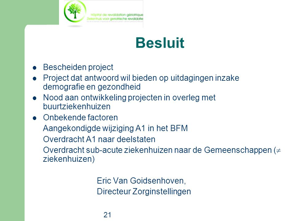 Besluit Bescheiden project