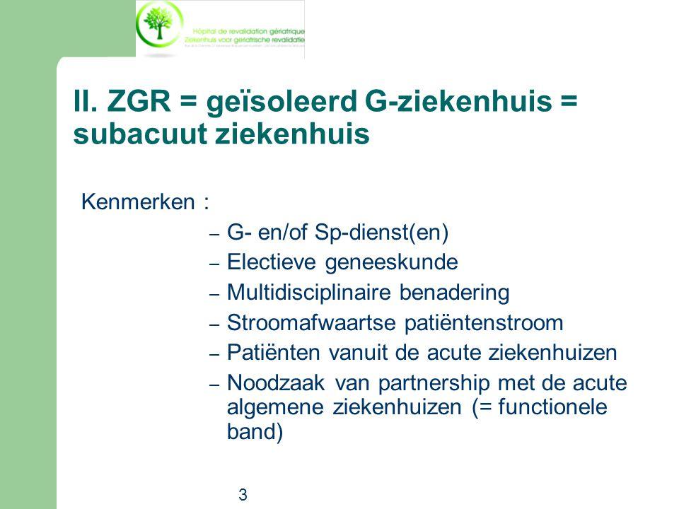 II. ZGR = geïsoleerd G-ziekenhuis = subacuut ziekenhuis