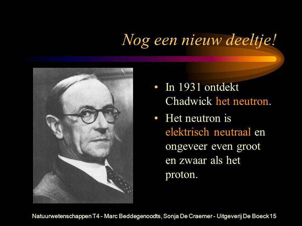 Nog een nieuw deeltje! In 1931 ontdekt Chadwick het neutron.