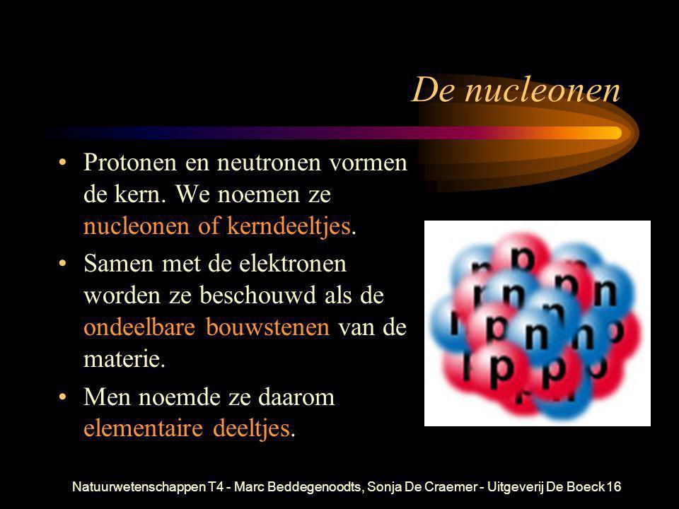 De nucleonen Protonen en neutronen vormen de kern. We noemen ze nucleonen of kerndeeltjes.