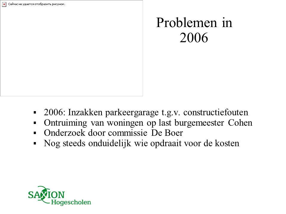 Problemen in 2006 2006: Inzakken parkeergarage t.g.v. constructiefouten. Ontruiming van woningen op last burgemeester Cohen.