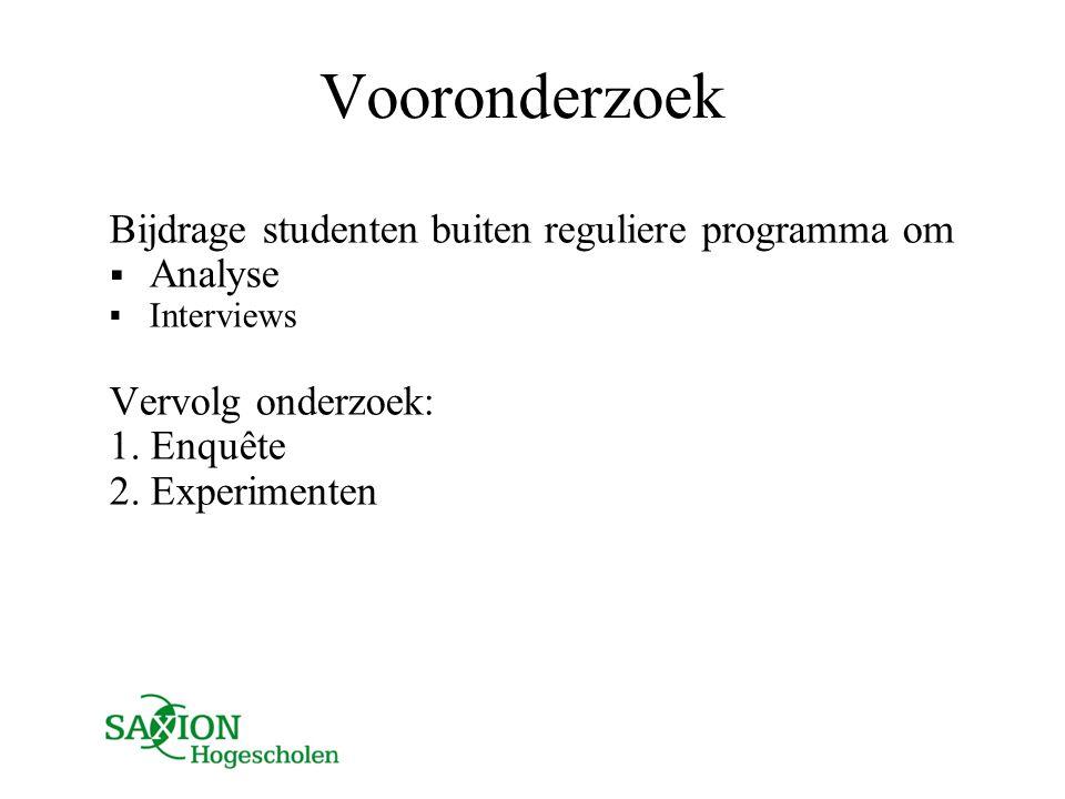 Vooronderzoek Bijdrage studenten buiten reguliere programma om Analyse