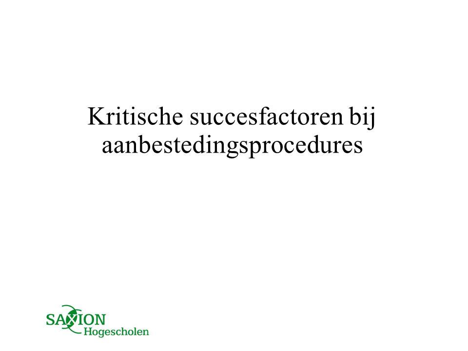 Kritische succesfactoren bij aanbestedingsprocedures