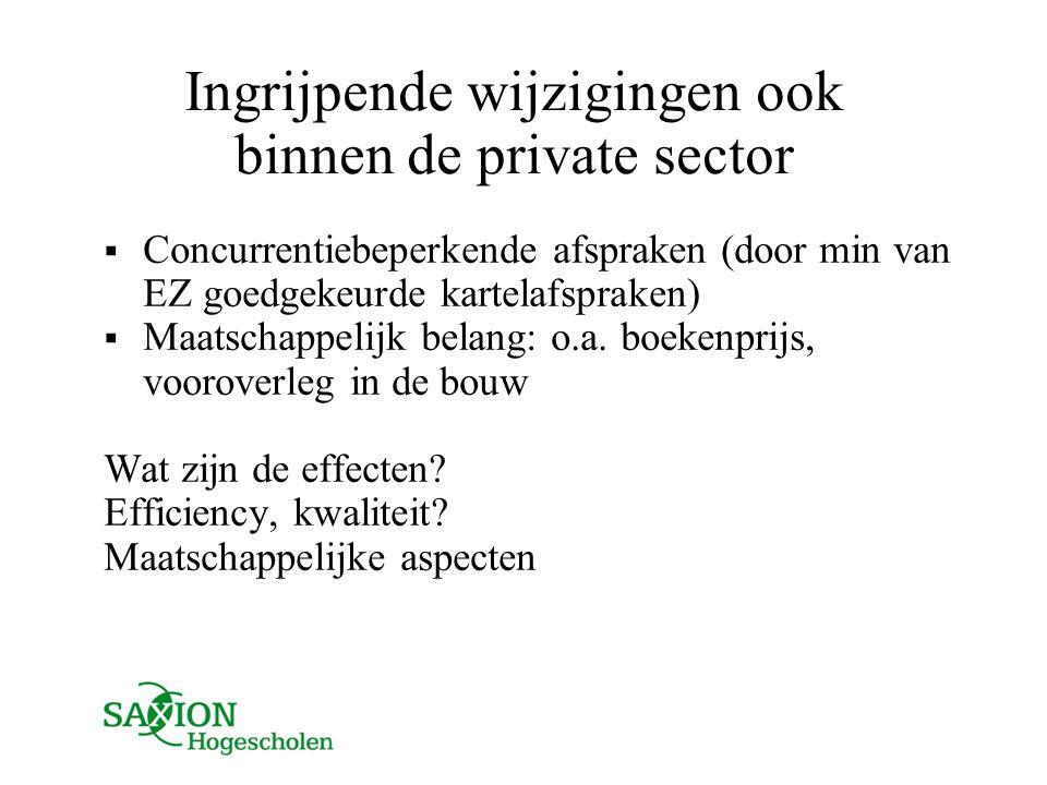 Ingrijpende wijzigingen ook binnen de private sector