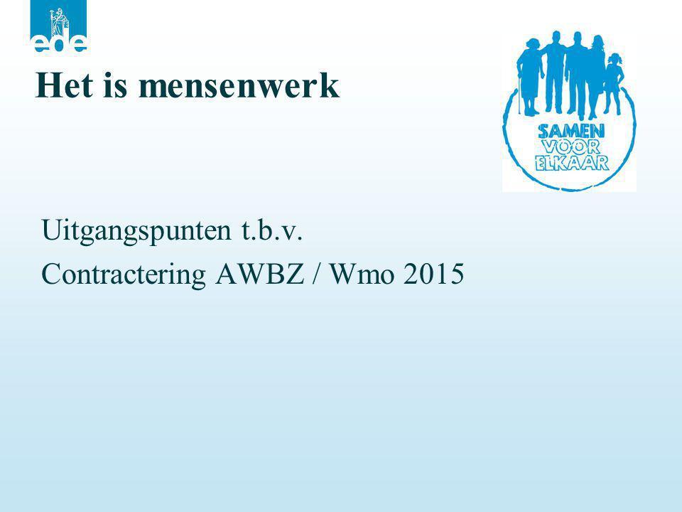 Het is mensenwerk Uitgangspunten t.b.v. Contractering AWBZ / Wmo 2015