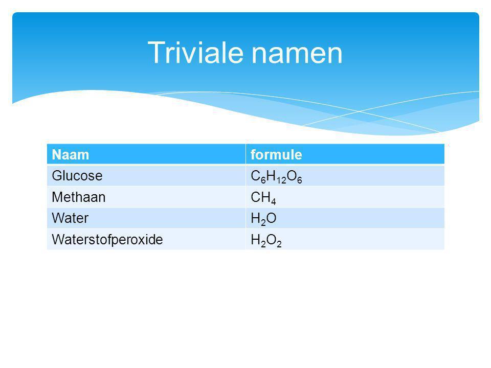 Triviale namen Naam formule Glucose C6H12O6 Methaan CH4 Water H2O
