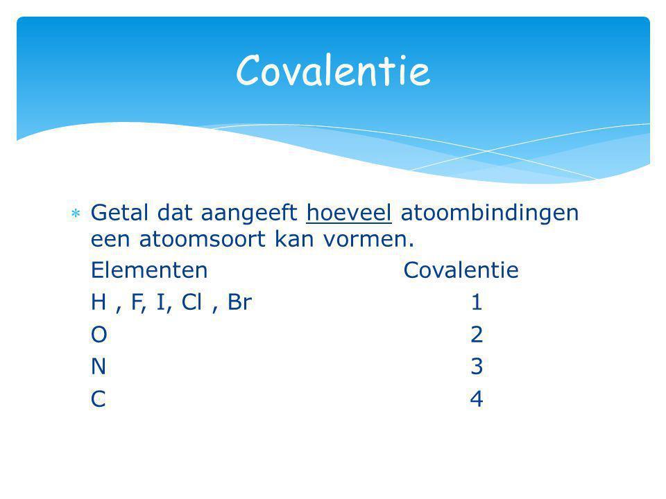 Covalentie Getal dat aangeeft hoeveel atoombindingen een atoomsoort kan vormen. Elementen Covalentie.