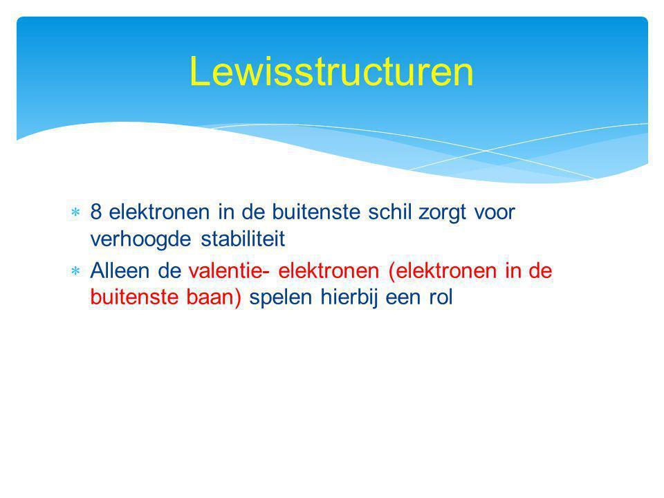 Lewisstructuren 8 elektronen in de buitenste schil zorgt voor verhoogde stabiliteit.