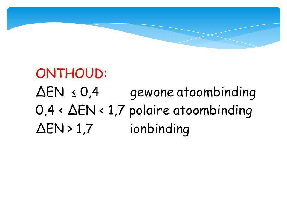 ONTHOUD: ΔEN ≤ 0,4 gewone atoombinding. 0,4 < ΔEN < 1,7 polaire atoombinding.