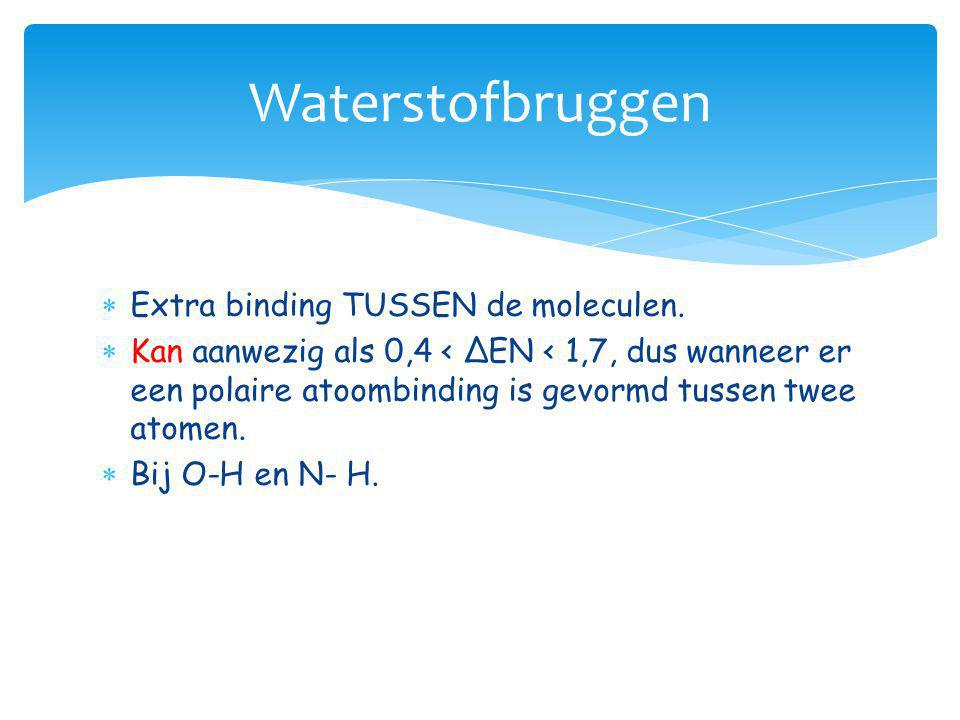 Waterstofbruggen Extra binding TUSSEN de moleculen.