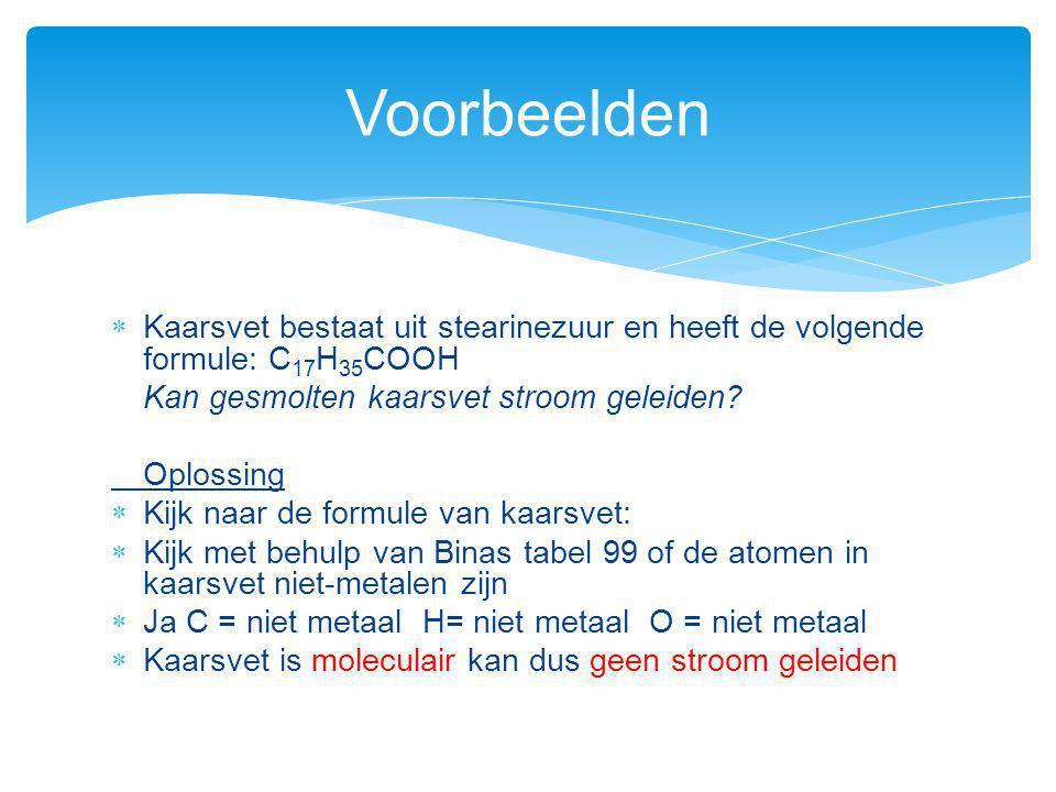 Voorbeelden Kaarsvet bestaat uit stearinezuur en heeft de volgende formule: C17H35COOH. Kan gesmolten kaarsvet stroom geleiden
