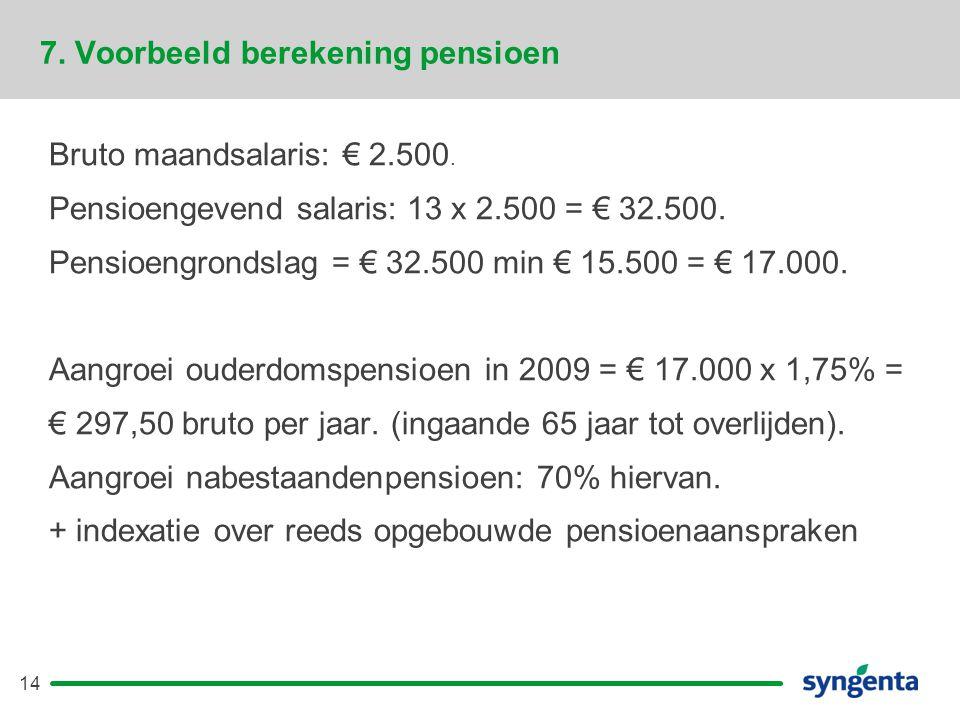 7. Voorbeeld berekening pensioen