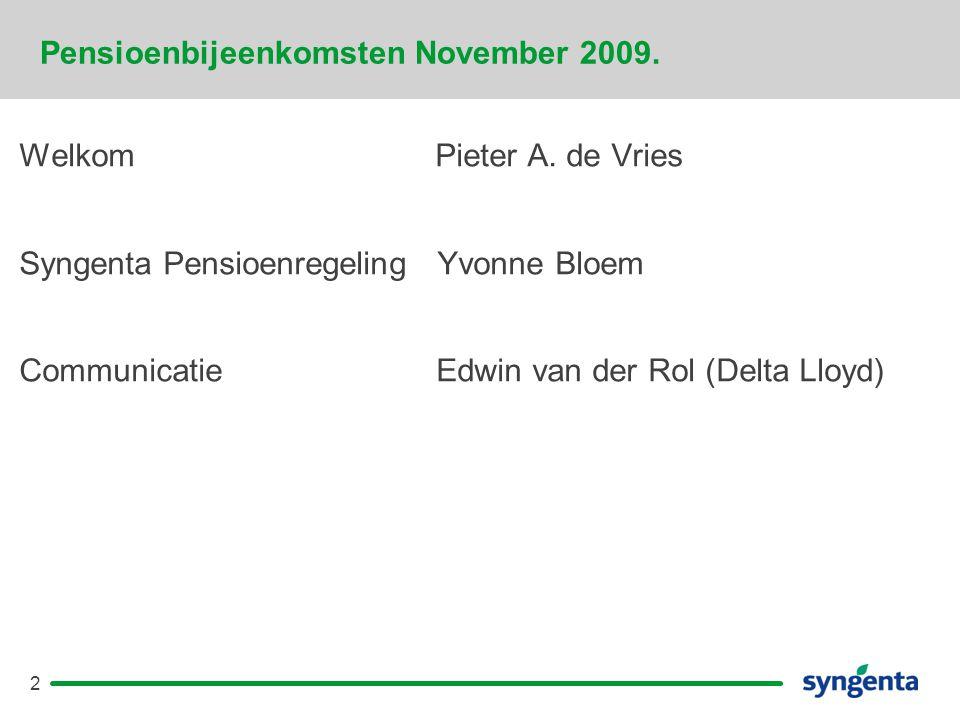 Pensioenbijeenkomsten November 2009.
