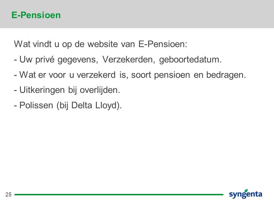 E-Pensioen Wat vindt u op de website van E-Pensioen: - Uw privé gegevens, Verzekerden, geboortedatum.