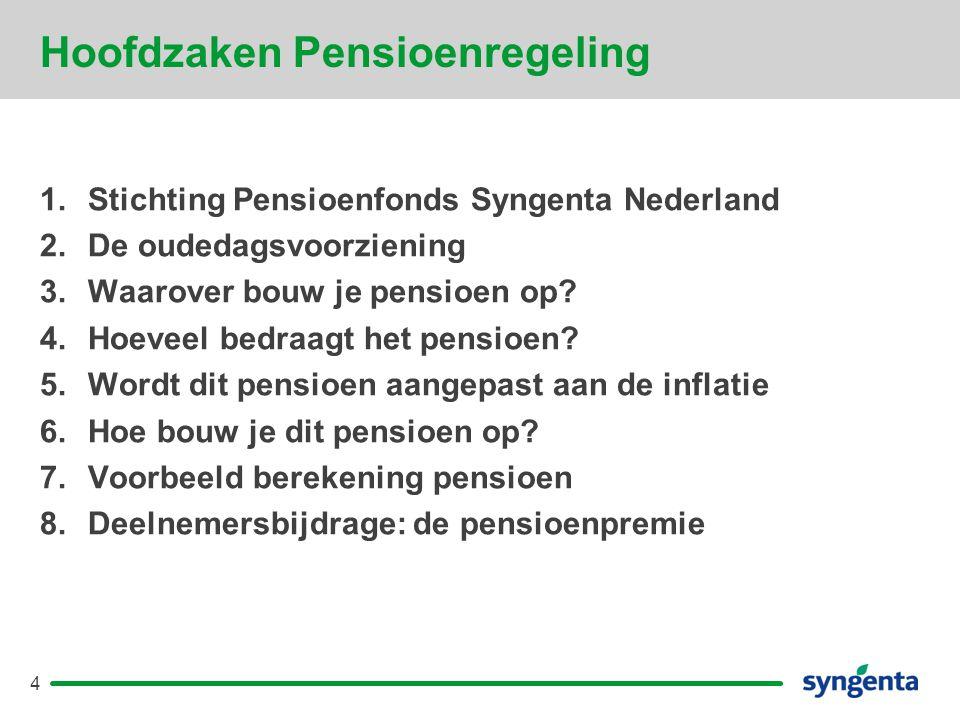 Hoofdzaken Pensioenregeling