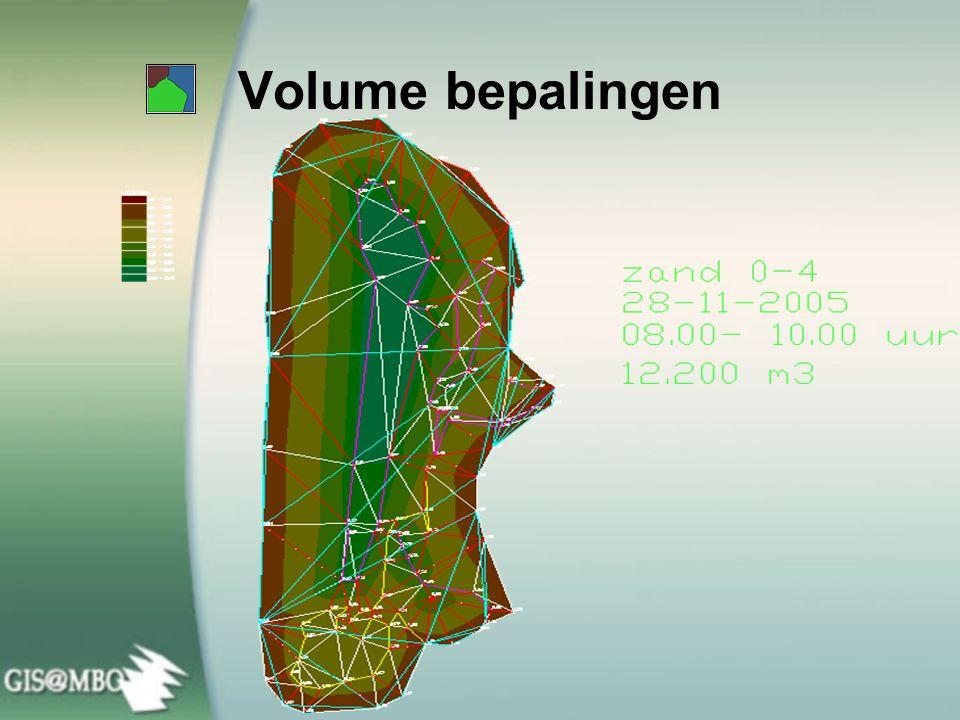 Volume bepalingen In GIS kunnen we berekeningen uitvoeren met behulp van gegevens in de database.