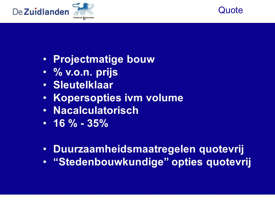 Kopersopties ivm volume Nacalculatorisch 16 % - 35%