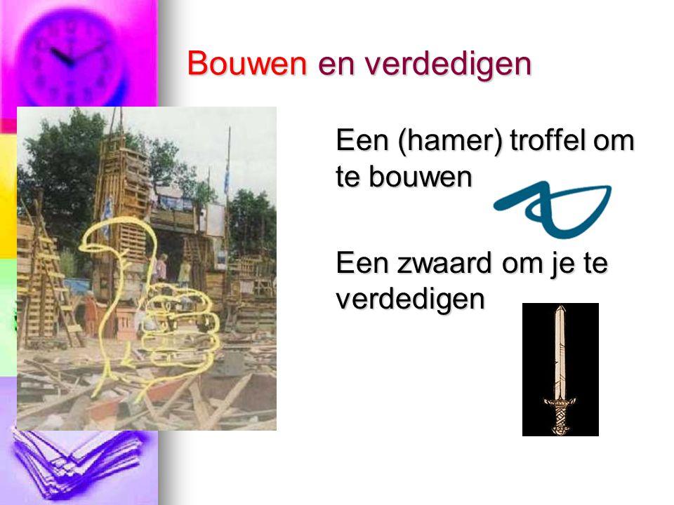 Bouwen en verdedigen Een (hamer) troffel om te bouwen