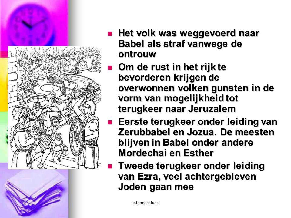 Het volk was weggevoerd naar Babel als straf vanwege de ontrouw
