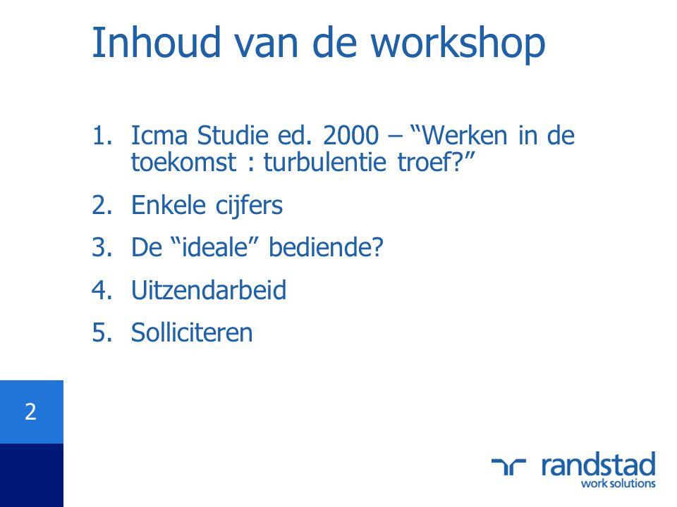 Inhoud van de workshop Icma Studie ed. 2000 – Werken in de toekomst : turbulentie troef Enkele cijfers.