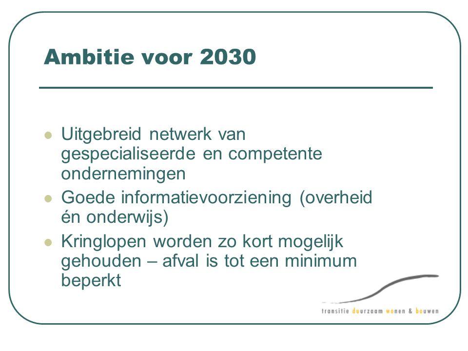 Ambitie voor 2030 Uitgebreid netwerk van gespecialiseerde en competente ondernemingen. Goede informatievoorziening (overheid én onderwijs)