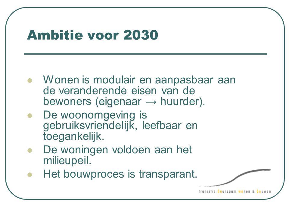 Ambitie voor 2030 Wonen is modulair en aanpasbaar aan de veranderende eisen van de bewoners (eigenaar → huurder).