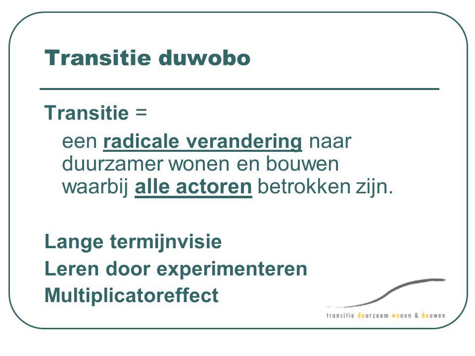 Transitie duwobo Transitie = een radicale verandering naar duurzamer wonen en bouwen waarbij alle actoren betrokken zijn.
