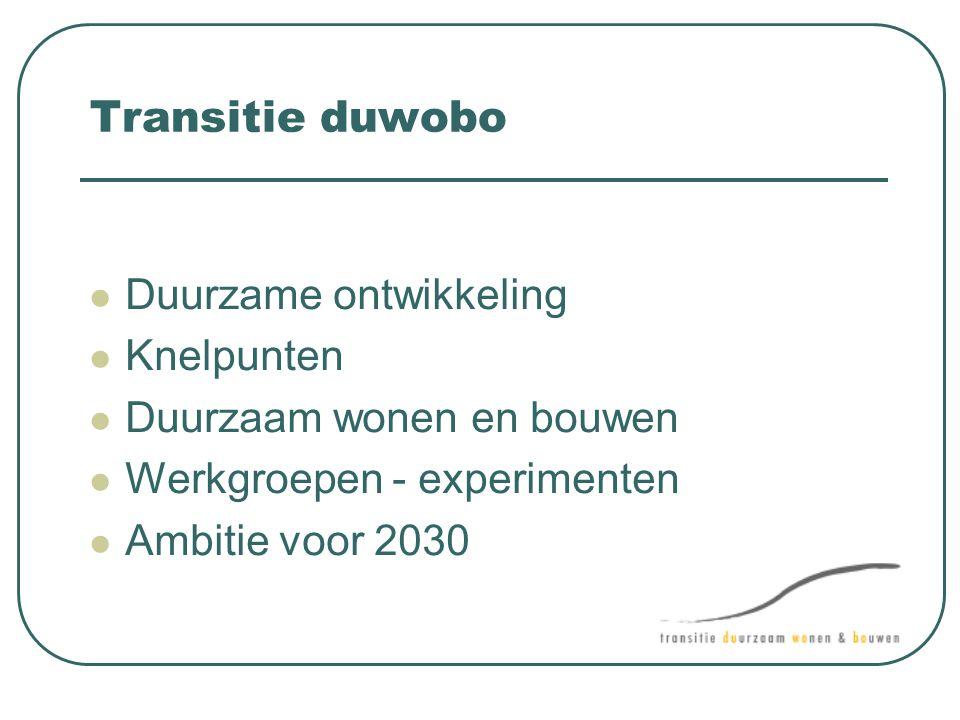 Transitie duwobo Duurzame ontwikkeling Knelpunten