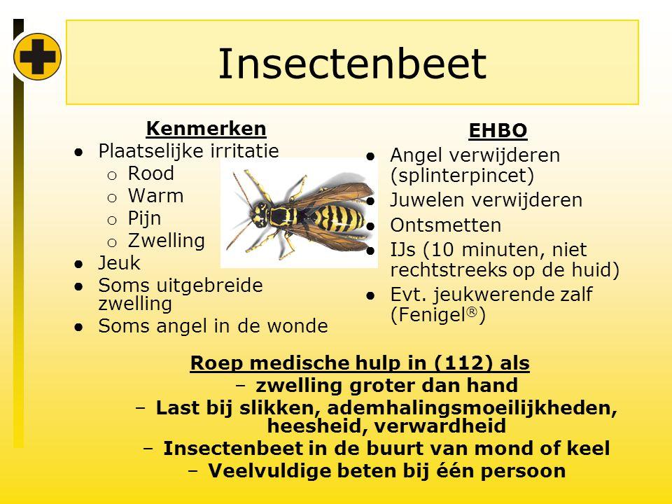Insectenbeet Kenmerken Plaatselijke irritatie Rood Warm Pijn Zwelling