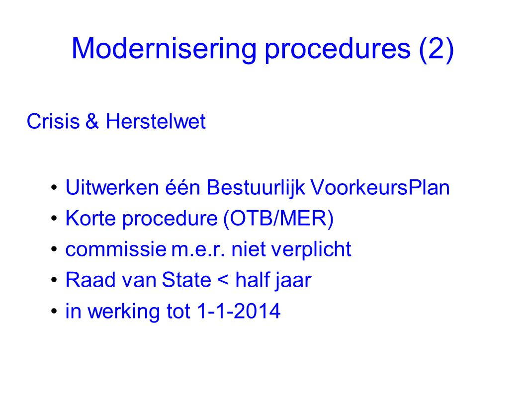 Modernisering procedures (2)