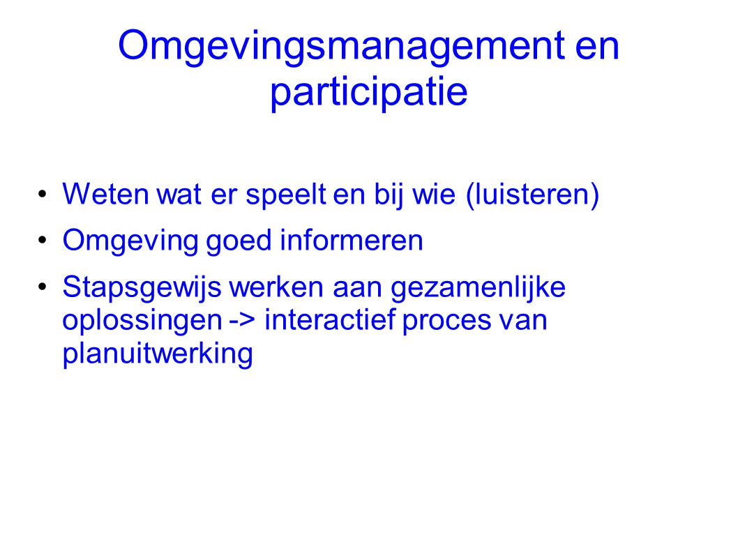 Omgevingsmanagement en participatie