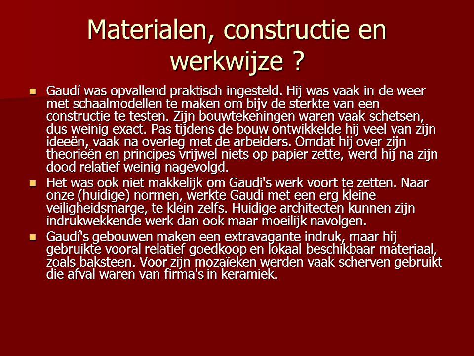 Materialen, constructie en werkwijze
