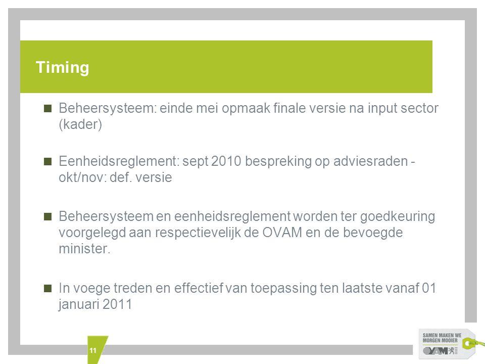 Timing Beheersysteem: einde mei opmaak finale versie na input sector (kader)