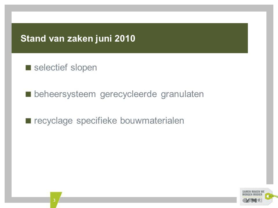 Stand van zaken juni 2010 selectief slopen. beheersysteem gerecycleerde granulaten.