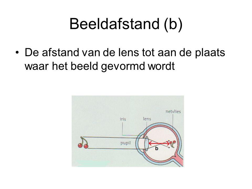 Beeldafstand (b) De afstand van de lens tot aan de plaats waar het beeld gevormd wordt