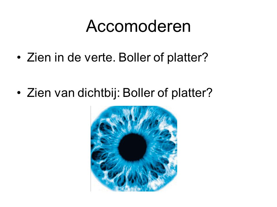 Accomoderen Zien in de verte. Boller of platter