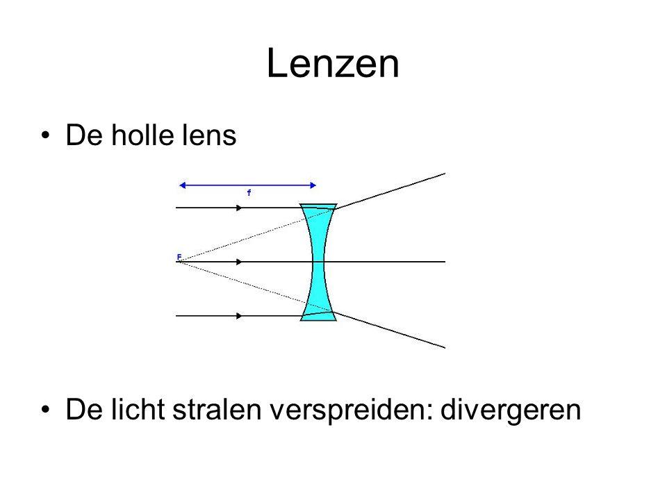 Lenzen De holle lens De licht stralen verspreiden: divergeren