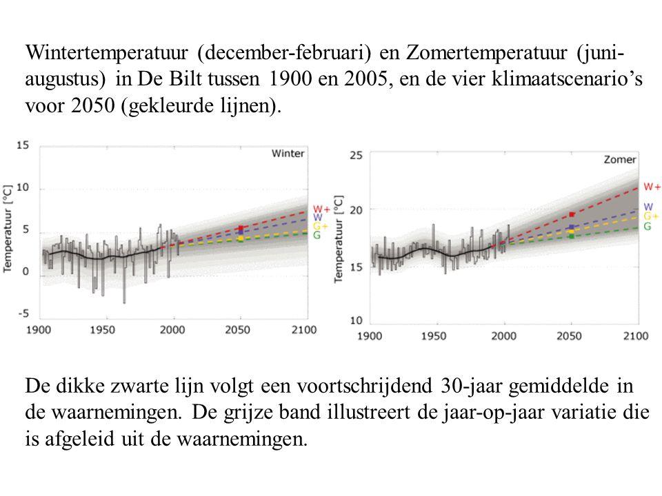 Wintertemperatuur (december-februari) en Zomertemperatuur (juni-augustus) in De Bilt tussen 1900 en 2005, en de vier klimaatscenario's voor 2050 (gekleurde lijnen).
