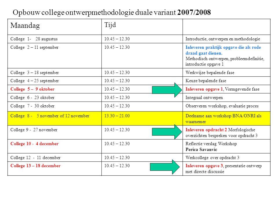 Opbouw college ontwerpmethodologie duale variant 2007/2008 Maandag